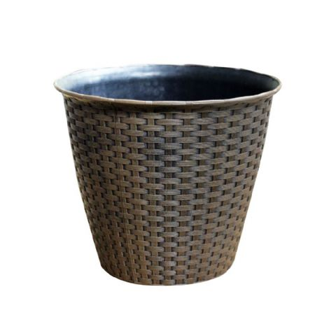 Small Rattan Effect Plastic Planter Pot 22cm Kingfisher Garden